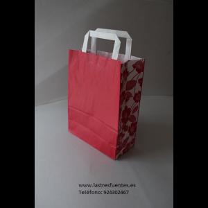 Bolsa de asa roja con flores