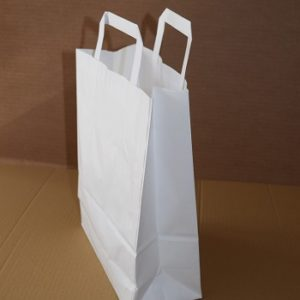 bolsas de papel asa plana blanca